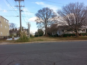 This would have been the 500 block - the street was removed during urban renewal.  Photo taken by the author on December 31, 2014.