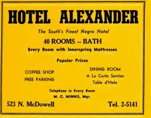 Ad for the Hotel Alexander in the 1950 Hill's Charlotte City Directory (image obtained via digitalnc.org)