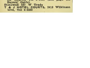 Listing for the Stonewall and T & J Motor Court from the 1950 Hill's Charlotte Directory (images via Google Images