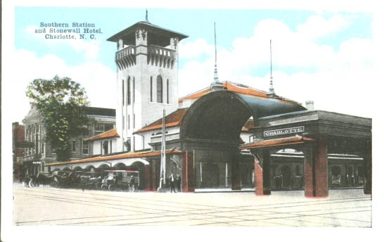 Southern Railway Station and Stonewall Hotel circa 1908.  Image courtesy of the Robinson-Spangler Carolina Room, Charlotte Mecklenburg Library.