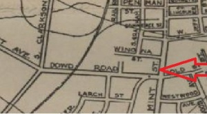 1935 Charlotte Chamber of Commerce Map_Shows location of Wearn Field