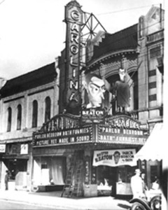 Facade of the Carolina Theatre 1927.  Photo courtesy of the Robinson-Spangler Carolina Room of the Charlotte Mecklenburg Library.