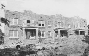 H. D. Dennis Apartments under construction 1928.  Photo courtesy of the Robinson-Spangler Carolina Room of the Charlotte Mecklenburg Public Library.