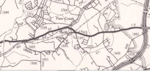 1972 Highway Maintenance Map showing the township of Thrift.  Courtesy of the NC Maps Collection of the Wilson Library of the University of North Carolina.
