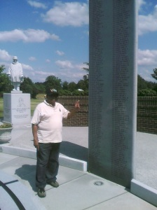 My husband at the Korean War Memorial.  Photo taken by the author.