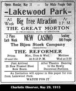 Lakewood Park Ad for May 29 1915.  Photo courtesy of the Lakewood Park website.