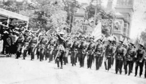 Military Unit participating in the 1914 Parade.  Image courtesy of the Robinson-Spangler Carolina Room of the Charlotte Mecklenburg Library.