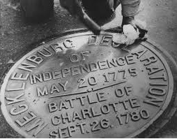 Plaque located on the Square commemorating Meck Dec and the Battle of Charlotte.  Image courtesy of the Robinson-Spangler Carolina Room of the Charlotte Mecklenburg Library via Google Images.