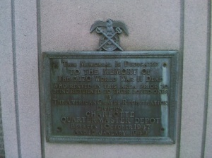 Plaque to the World War II Memorial at Evergreen Cemetery.  Photo taken by the author.