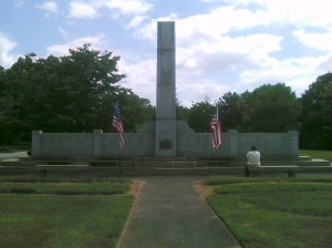 World War II Memorial at Evergreen Cemetery.  Photo taken by the author.