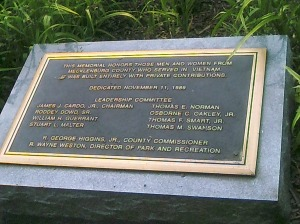 Plaque at the Vietnam Memorial.  Photo taken by the author.