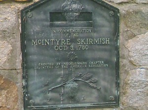 Plaque commemorating the skirmish at McIntyre's Farm.  This was erected by the Mecklenburg Chapter of the Daughters of the American Revolution in 1901.  Photo taken by the author.